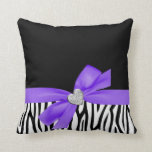 Zebra Purple Bow Diamond Heart Pillow