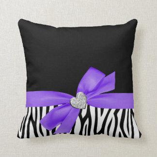 Zebra Purple Bow Diamond Heart Throw Pillow