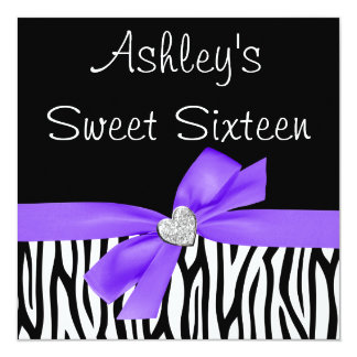 Zebra Purple Bow Diamond Sweet 16 Invitations