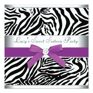 Zebra Purple Bow Purple Zebra Sweet 16 Birthday Card