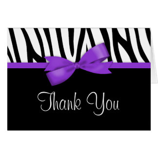 Zebra Purple Bow Thank You Greeting Cards