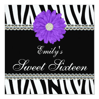 Zebra Purple Daisy Gems Sweet 16 Birthday Card