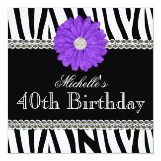 Zebra Purple Daisy Printed Gems 40th Birthday Card