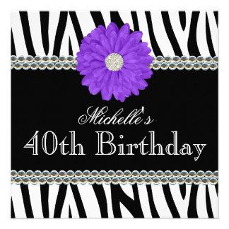 Zebra Purple Daisy Printed Gems 40th Birthday Custom Invites