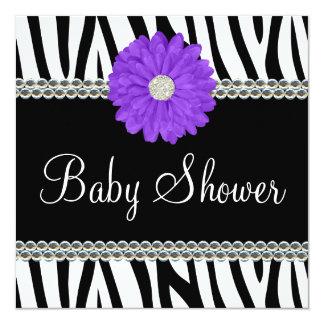 Zebra Purple Daisy Printed Gems Baby Shower Card