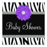 Zebra Purple Daisy Printed Gems Baby Shower Invitation