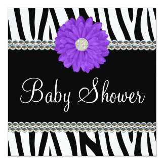 Zebra Purple Daisy Printed Gems Baby Shower Invitations