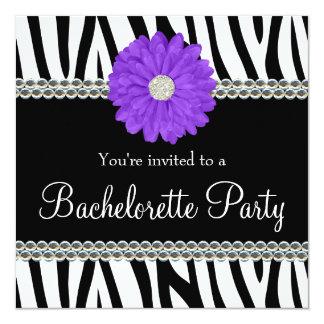 Zebra Purple Daisy Printed Gems Bachelorette Party Card