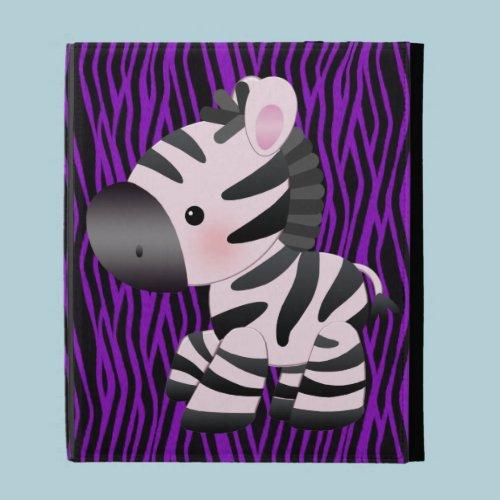 Zebra & Purple Faux Texture Animal Print iPad Case