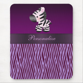 Zebra & Purple Faux Texture Animal Print Mousepad