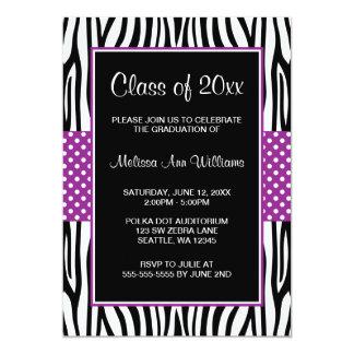 Zebra Purple Polka Dot Graduation Announcement