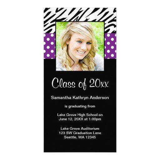 Zebra Purple Polka Dot Graduation Announcement Customized Photo Card