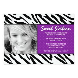 Zebra Purple Polka Dot Sweet 16 Photo Invitation