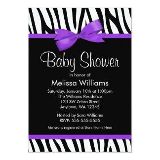 Zebra Purple Printed Bow Baby Shower 5x7 Paper Invitation Card