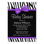 Zebra Purple Printed Bow Baby Shower Card