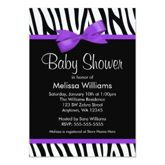 Zebra Purple Printed Bow Baby Shower Card
