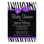Zebra Purple Printed Bow Baby Shower 5x7 Paper Invitation Card