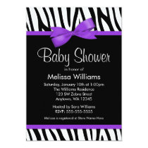 Zebra Purple Printed Bow Baby Shower Invitation