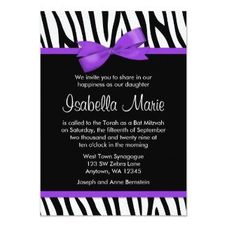 "Zebra Purple Printed Bow Bat Mitzvah Invitations 5"" X 7"" Invitation Card"