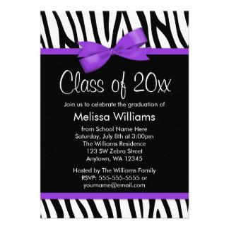 Zebra Purple Printed Bow Graduation Party Custom Invitations