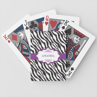 Zebra Purple Ribbon Bicycle Playing Cards