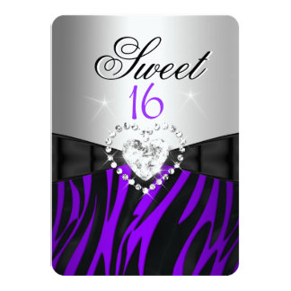 "Zebra Purple Silver Sweet 16 Sixteen Birthday 4.5"" X 6.25"" Invitation Card"