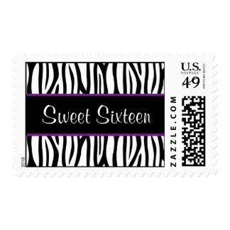 Zebra Purple Sweet 16 Birthday Stamp