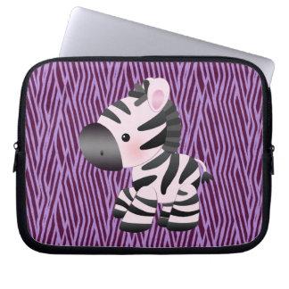 Zebra & Purple Texture Animal Print Laptop Sleeve