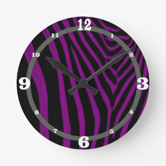 Zebra- Purple With Gray Accent Round Clock