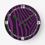 Zebra- Purple With Gray Accent Wall Clocks