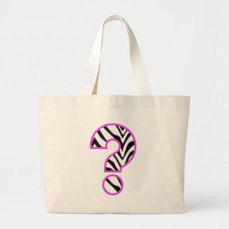 Zebra Question Mark Large Tote Bag