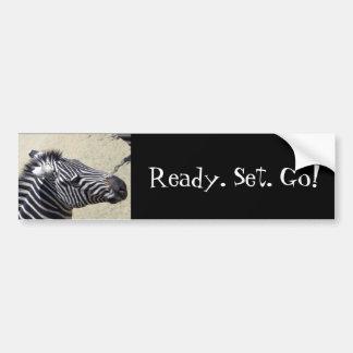 Zebra racing bumper sticker