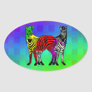 ZEBRA RAINBOW & BLACK/WHITE OVAL STICKER