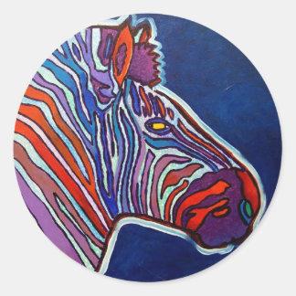 Zebra Rainbow by Piliero Classic Round Sticker