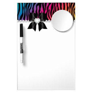 Zebra Rainbow Mirror Dry Erase Message Board