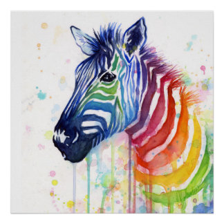 Zebra Rainbow Watercolor Painting Poster