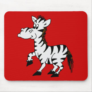 Zebra Red Background Mouse Pad
