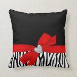 Zebra Red Bow Diamond Heart Pillow
