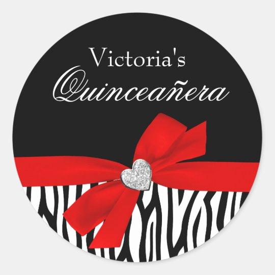Zebra Red Bow Diamond Quinceanera Classic Round Sticker