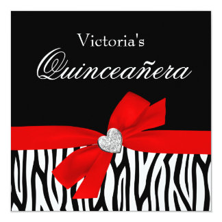 Zebra Red Bow Diamond Quinceanera Invitations