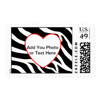 Zebra Red Heart Template Postage Stamps