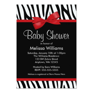 Zebra Red Printed Bow Baby Shower Card