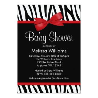 Zebra Red Printed Bow Baby Shower Custom Invite