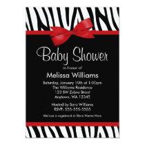 Zebra Red Printed Bow Baby Shower Invitation
