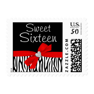 Zebra Red Printed Bow Diamond Heart Sweet 16 Postage