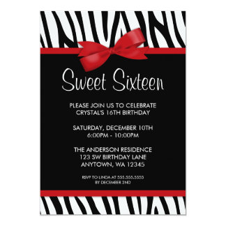Zebra Red Printed Bow Sweet 16 Birthday Party Card