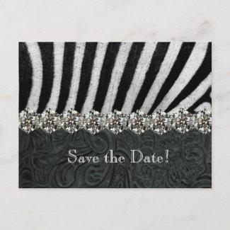 Zebra Rhinestone Black Leather Save the Date Postcard