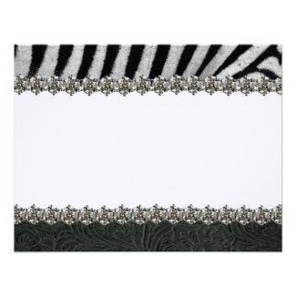 Zebra Rhinestone Black Leather Thank You Notes Custom Invitations