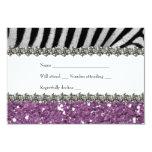 "Zebra Rhinestone Purple Glitter Look RSVP 3.5"" X 5"" Invitation Card"