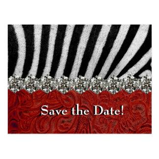 Zebra Rhinestone Red Leather Save the Date Postcard